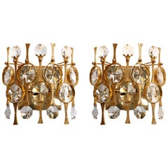 Palwa Sconces Wall Lamps Lights, Gilt Brass, 1970