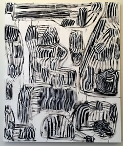 Original Abstract Expressionist Painting Contemporary Black and White NYC