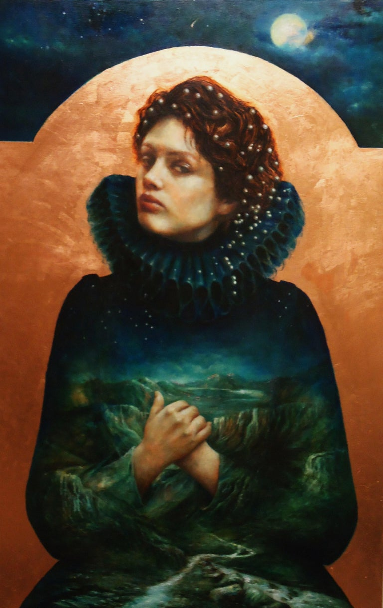 Pam Hawkes Figurative Painting - Terra Nullis-21st Century Contemporary Iconic Painting of a Girl in blue dress