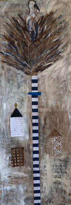 Beige Tree of Life: Osprey Nest II Mixed Media Acrylic Painting on Paper