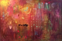 Crimson Abstract with Moons Large Contemporary Painting