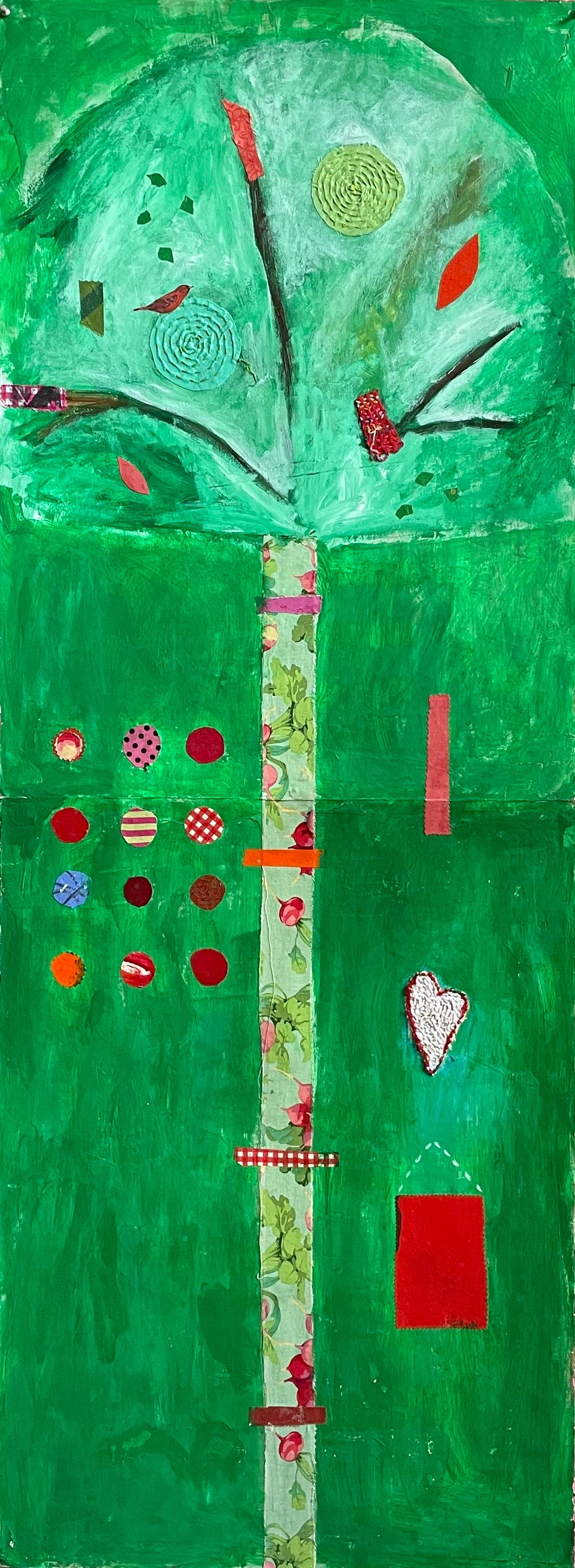 Green Tree of Life (Arch) Mixed Media Acrylic Painting on Paper