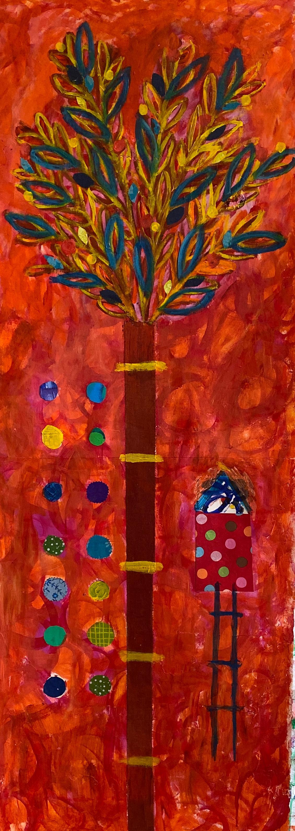Contemporary Orange Tree of Life Mixed Media Acrylic Painting on Paper
