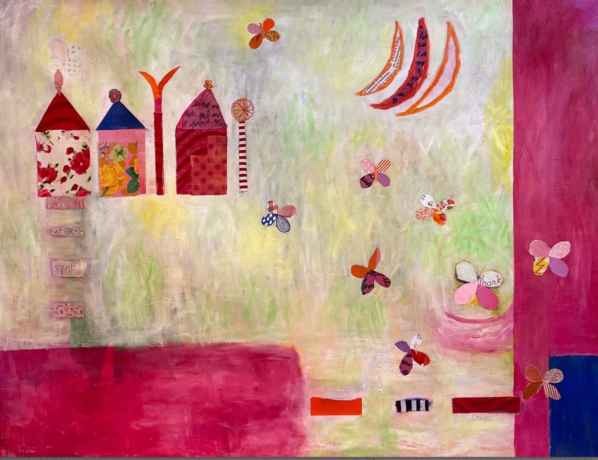 Pink Butterflies Contemporary Abstract Mixed Media Painting