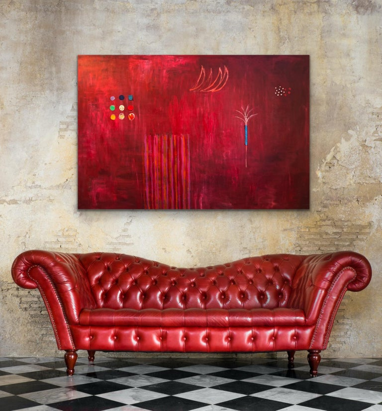 Red Tree - Abstract Expressionist Mixed Media Art by Pam Smilow