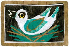 Teal Bird Animal Giclee Print on Paper