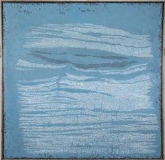 Blue Shore, Pamela Burns. abstract oil painting, Welsh river