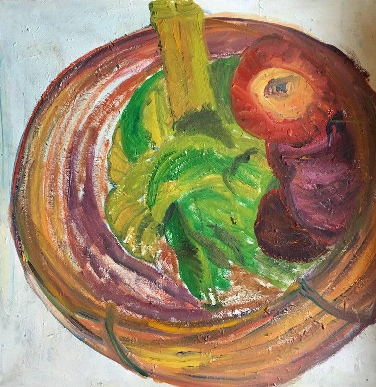 Sedwick Studio Purple Bowl Of Plums Fruit Bowl Still: Abstract Bowl Of Fruit, British Artist
