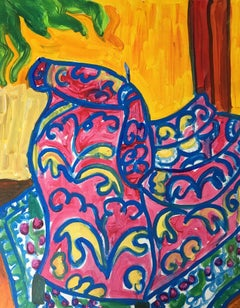 Abstract Colourful Oil Painting of an Armchair