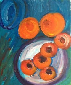Abstract Oranges, Still Life, Rich Colourful Oil Painting