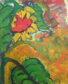 Abstract Sunflower, Impressionist, British Artist