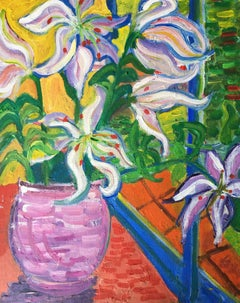 Abstract Vase of Lilies, Colourful Oil Painting
