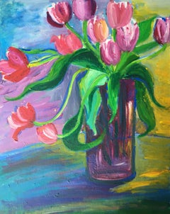 Abstract Vase of Tulips, Colourful Oil Painting