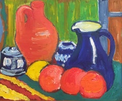 Colourful Still Life Oil Painting, British Artist