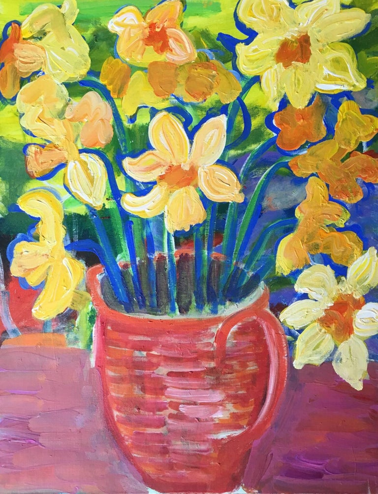 Pamela Cawley Daffodils Impressionist Bright Colours Oil Painting