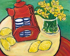 Daffodils, Lemons & Coffee Pot Large British Impressionist Oil