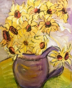 Daisies in a Purple Vase Flower Oil Painting, British Artist