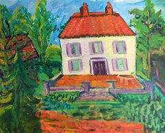 French Chateau, Colourful Painting, British Artist