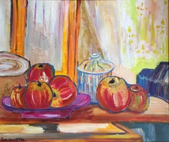 Fresh Apples on a Farmhouse Table, Still Life, Signed Oil Painting