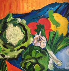 Garden Vegetables, Still Life, Bright Colours, British Artist