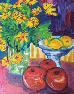Impressionist Oil Painting of Daisies, Lemons and Apples