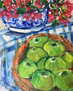 Impressionist Still Life Apples and Flowers, Oil Painting