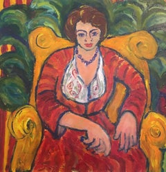 Lady in Red, British Impressionist Artist Large Oil Painting