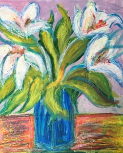 Lilies in a Blue Vase, Impressionist Oil Painting of Flowers