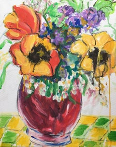 Multicoloured Flowers in a Vase, Impressionist, British Artist