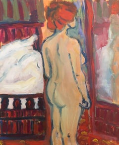 Nude Model Figure Oil Painting Red Colours British Artist