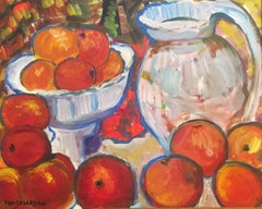 Oranges in a Bowl, Still Life Signed Oil Painting