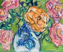 Peonies in a Vase, Impressionist Style, Bright Colours