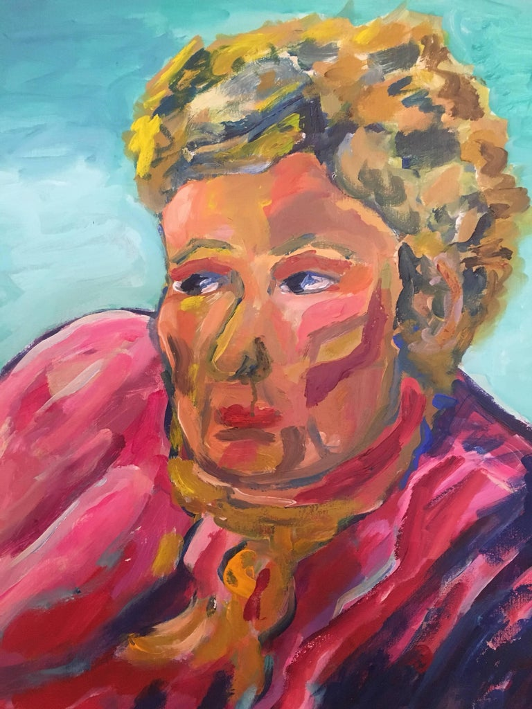 Portrait of Lady in Pink, British Artist - Brown Interior Painting by Pamela Cawley
