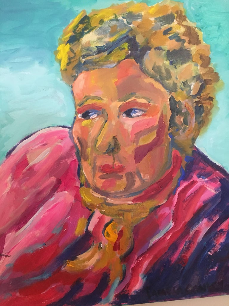 Pamela Cawley Interior Painting - Portrait of Lady in Pink, British Artist