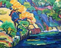 Provencal Impressionist Landscape, Blue Palette, Oil Painting