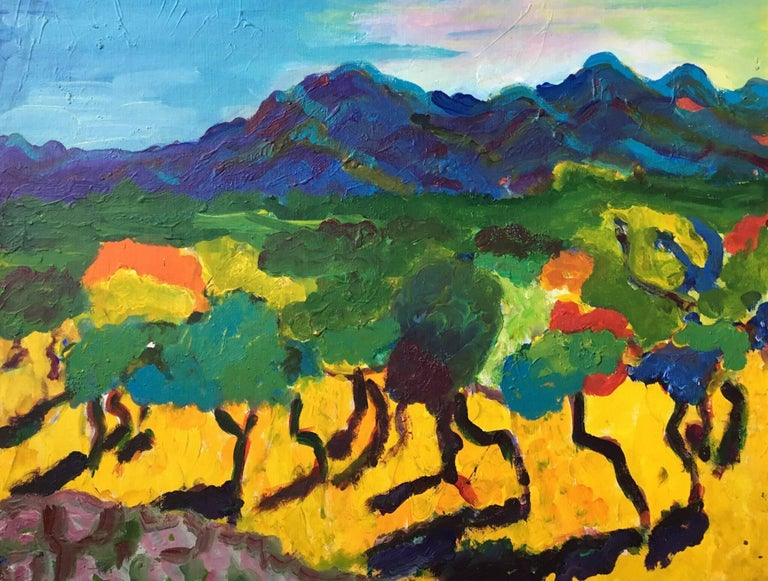 Pamela Cawley Provence Impressionist Abstract Landscape Bright Colours Oil Painting