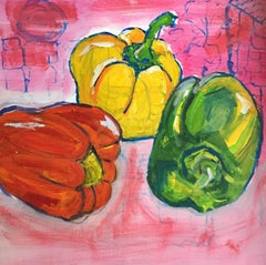 Red, Yellow & Green Peppers, Still Life, British Artist