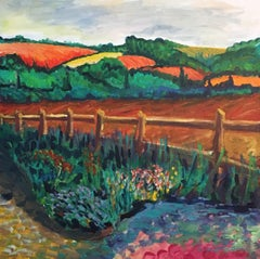 Rolling Fields, Colourful Landscape, British Artist