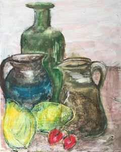 Soft Greens Impressionist Still Life, Oil Painting, Muted Colours