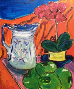 Still Life, Fruit, Flowers and Classic Jug, Colourful Oil Painting