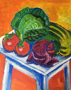 Still Life of Homegrown Vegetables, Oil Painting