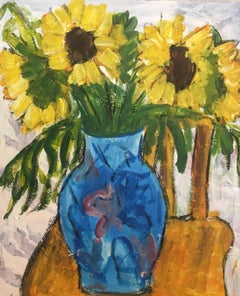 Sun Flowers in a Blue Vase Still Life Oil Painting, Flowers