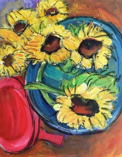 Sunflowers Close Up, Still Life, Oil Painting