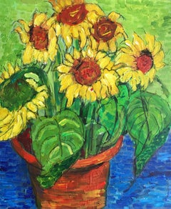 Sunflowers Growing in a Pot, Still Life Oil Painting British Artist