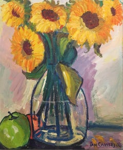 Sunflowers in a Vase, Signed Oil Painting