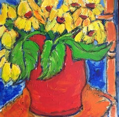 Sunflowers Still Life Impressionist Oil Painting, British Artist