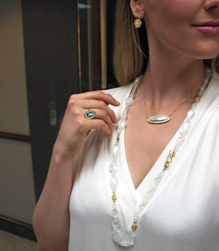 Artist Pamela Froman Color Change Rainbow Opal Pave Diamond Gold Multilength Necklace For Sale