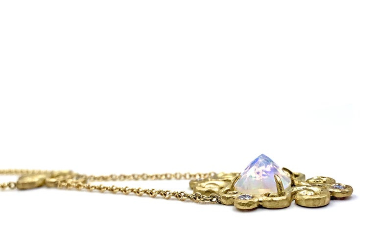 Round Cut Pamela Froman Ethiopian Opal Diamond Gold One of a Kind Arabesque Drop Necklace For Sale