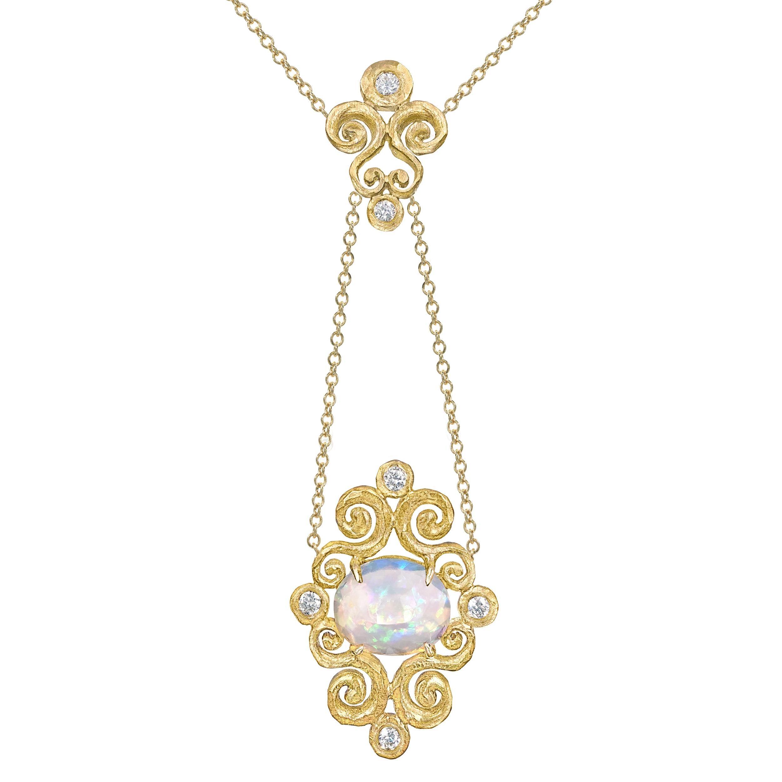 Pamela Froman Ethiopian Opal Diamond Gold One of a Kind Arabesque Drop Necklace