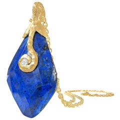 Pamela Froman Faceted Lapis Diamond Hammered Gold Pendant Drop Necklace